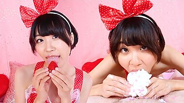 Japanese Cutie Miko Kurozuki Gives Delicious Deepthroat With Strawberries and Cream