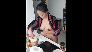 Asian Model Naked Cooking Vlog - Part 2 of 3