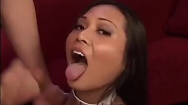 Asian girl eats 2 loads of cum